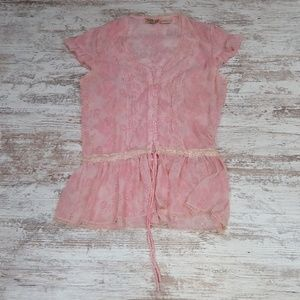 Vintage Sheer Pink Button Down Tie Blouse Top